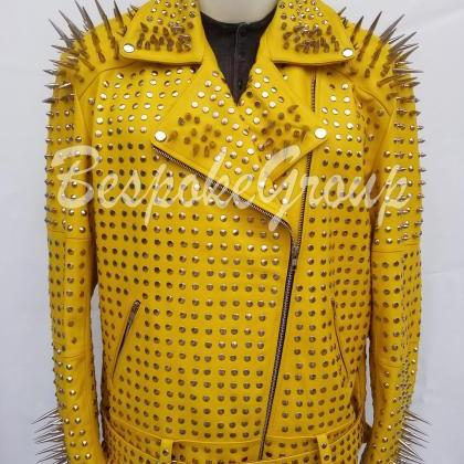New Handmade Men Yellow Full Steamp..