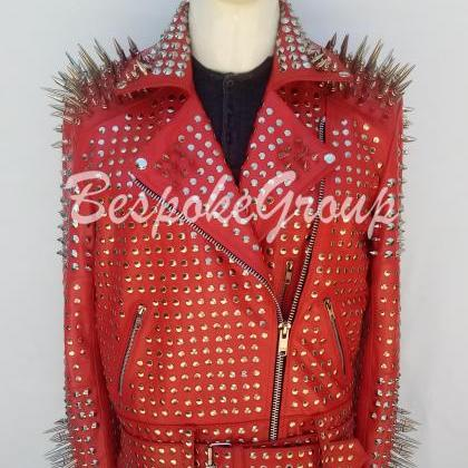 New Handmade Mens Red Rock Punk Ful..