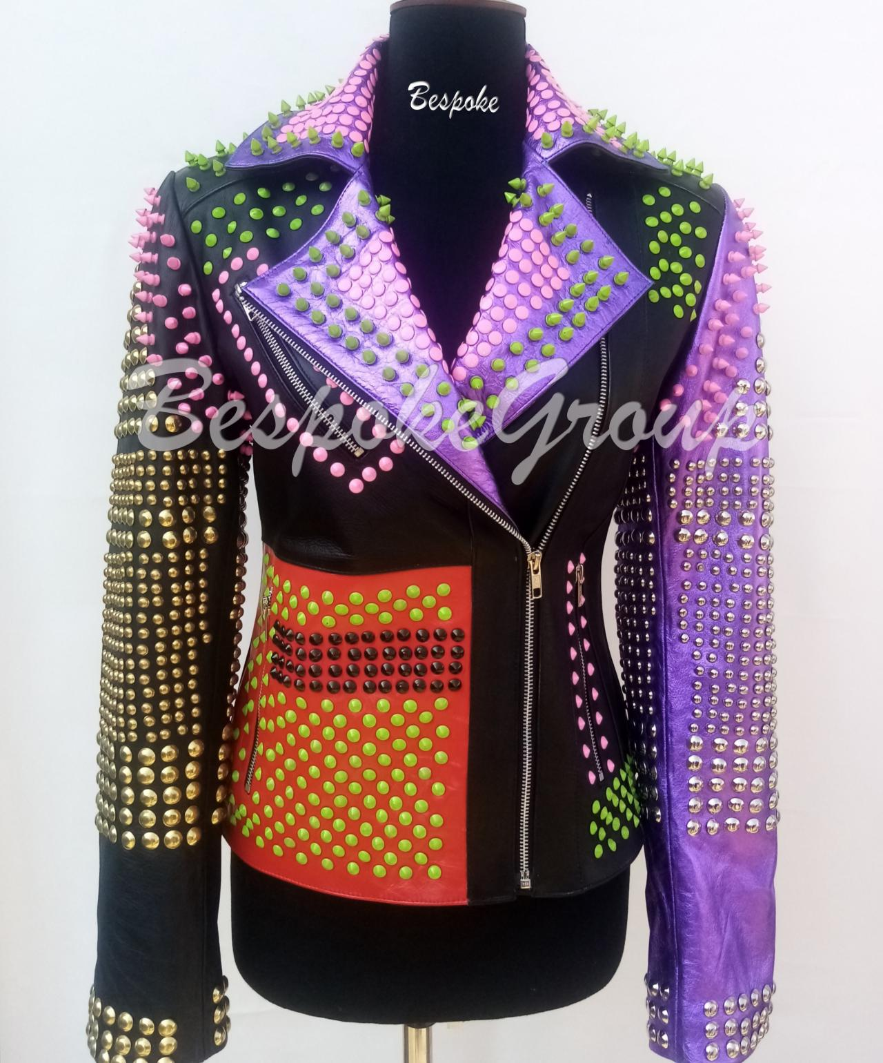 New Handmade Women Rock Punk Multicolored Spiked Studded Steampunk Brando Unique Stylish Cowhide Leather Jacket-24
