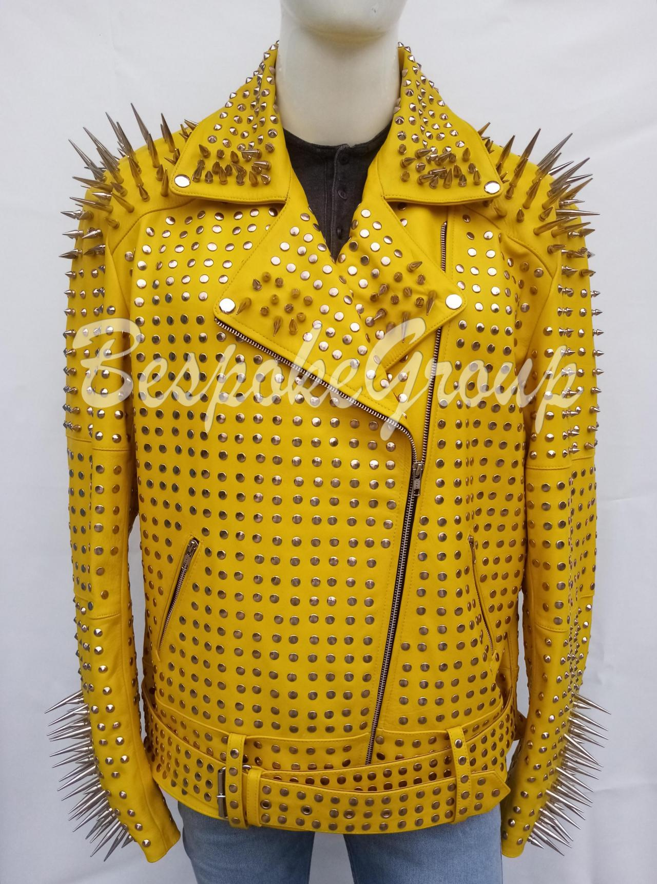 New Handmade Men Yellow Full Steampunk Silver Long Spiked Studded Leather Brando Belted Cowhide Leather Jacket-27