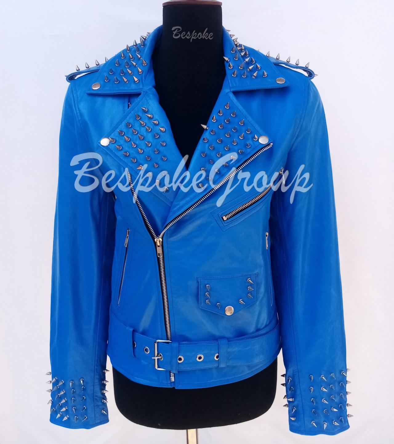 New Handmade Women Blue Silver Spiked Studded Belted Style Leather Jacket-33