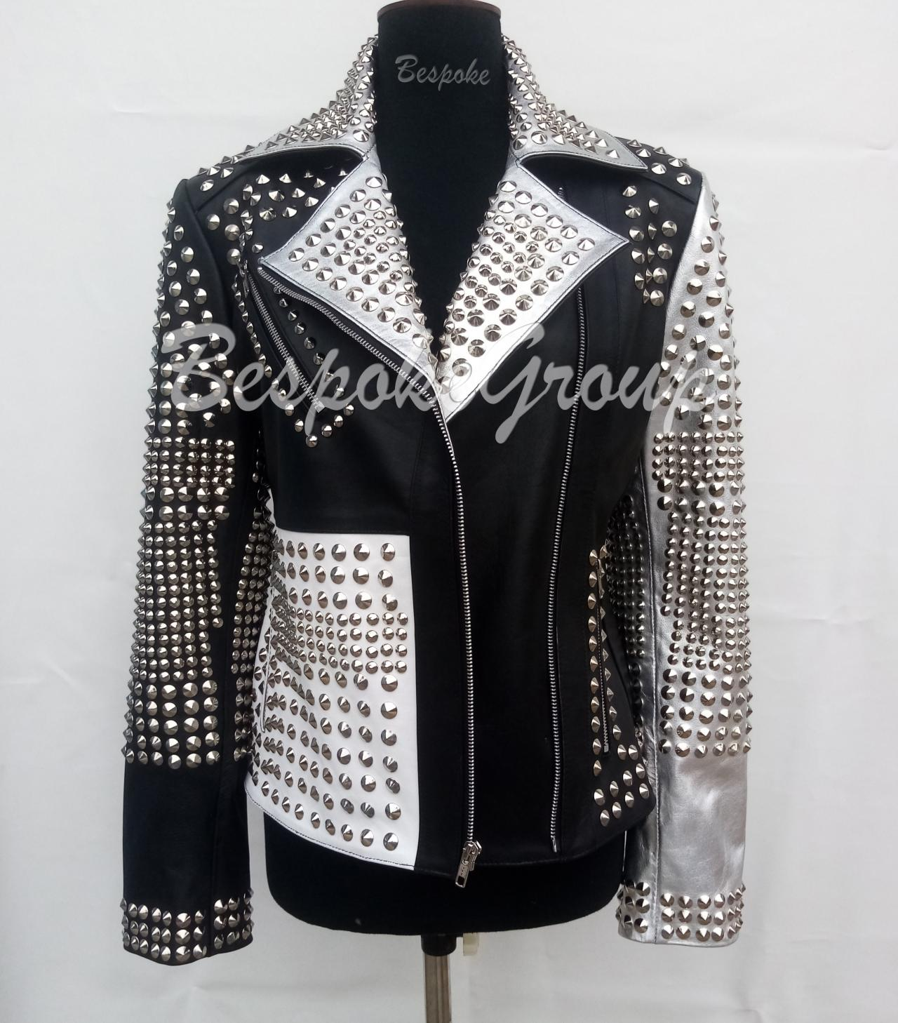 New Handmade Women Silver Black Punk Rock Multi Color Studded Brando Stem Punk Cowhide Biker Unique Style Leather Jacket-40