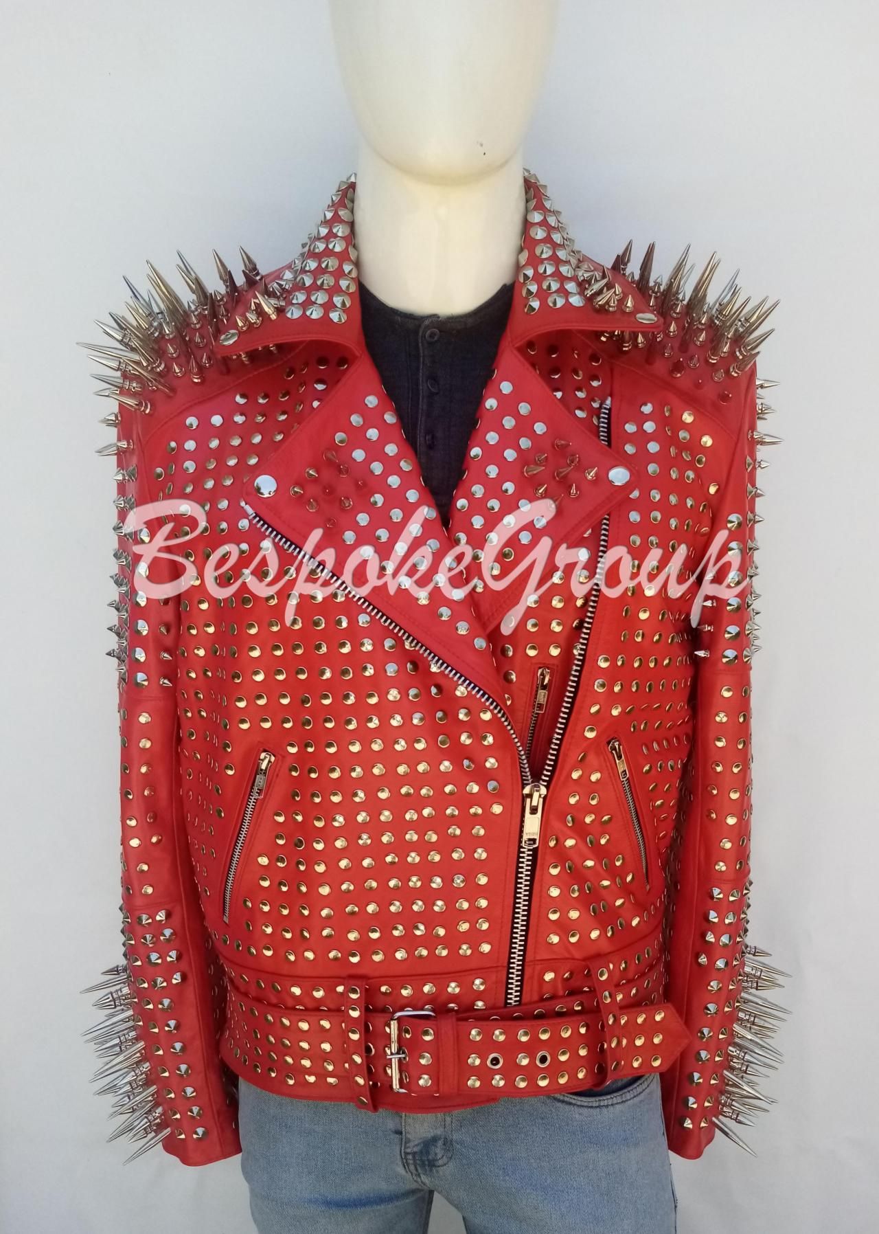 New Handmade Mens Red Rock Punk Full Silver long spiked Studded Rock Studded Brando Cowhide Biker Belted Leather Jacket-59
