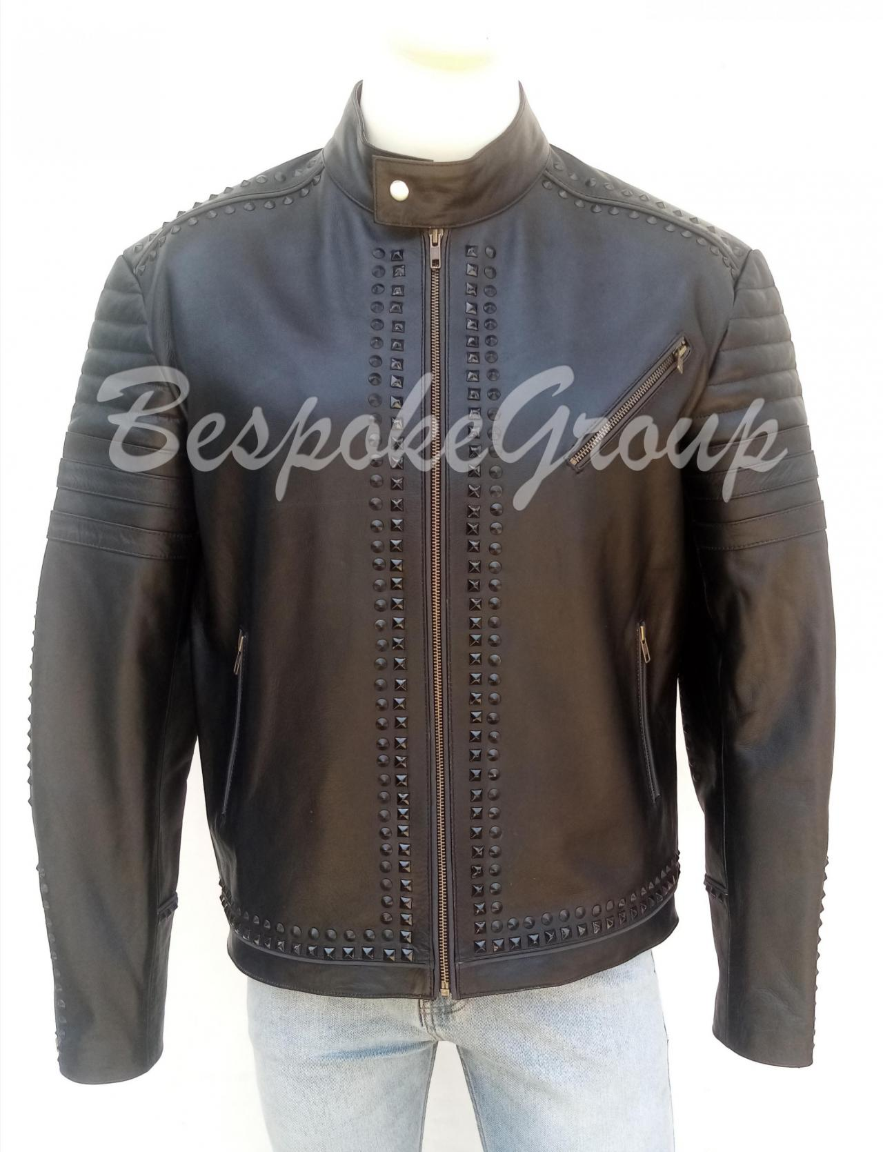 New Handmade Men Black Full Black Tonal Studded Punk Unique Style Studded Cowhide Biker Leather Jacket-77