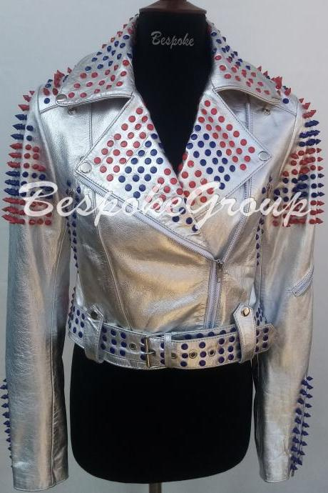 New Handmade Women's Silver Punk Multi-colors Spiked Studded Brando Belted Cowhide Biker Leather Jacket-1