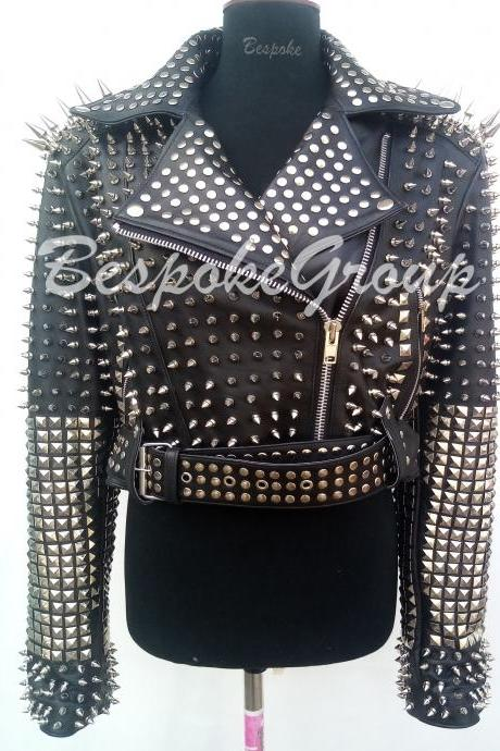 New Handmade Women Black Rock Punk Full Silver Long Spiked Studs Unique Belted Brando Style Leather Jacket-4