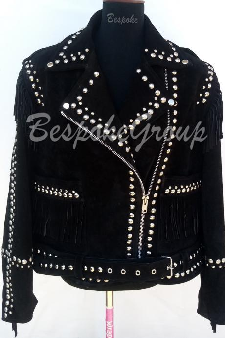 New Handmade Women Western Style Black Silver Studs Punk Suede Leather Jacket-7