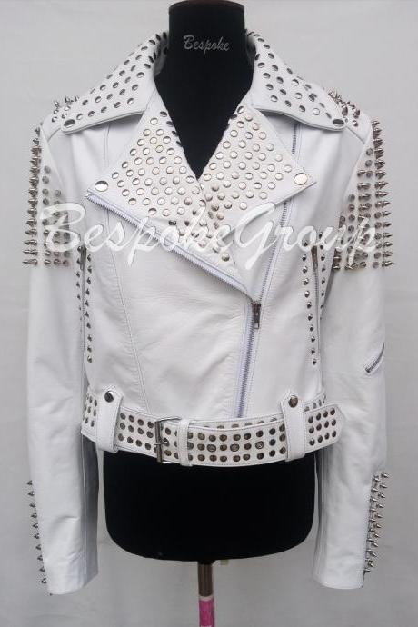 New Handmade Women Rock Full White Silver Spiked Half Studded Brando Style Unique Studded Belted Cowhide Leather Jacket-15