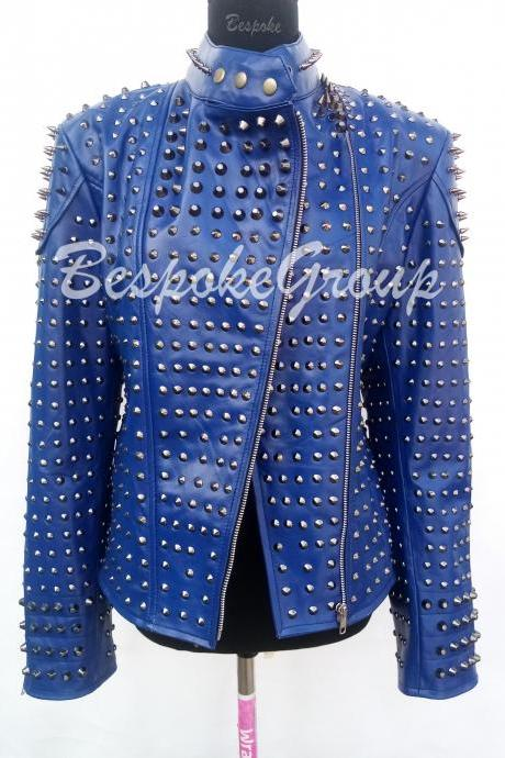 New Handmade Women Blue Punk Gun Metal Spiked Studded Belted Leather Jacket-16