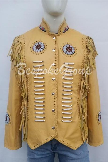 New Handmade Men Yellow Western Unique Cowhide Vintage Fashion Leather Jacket-18
