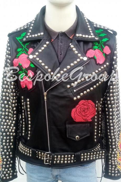 New Men's Handmade Black Silver Studded Embroidered Brando Leather Jacket-20