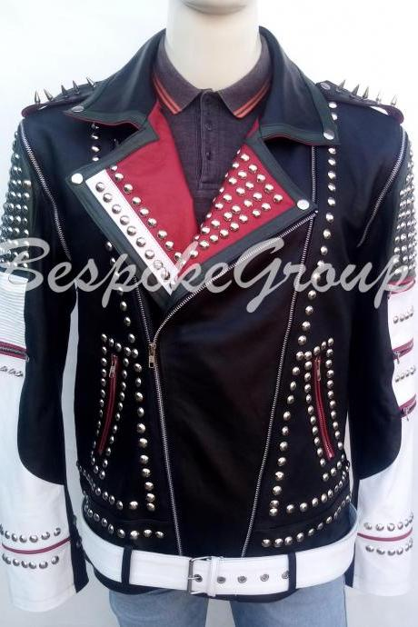 New Men Handmade Multicolored Silver Spiked Studded Rock Punk Leather Jacket-22