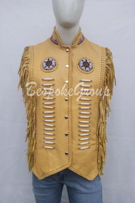 New Handmade Men Yellow Western Unique Cowhide Vintage Leather Vest Jacket-23