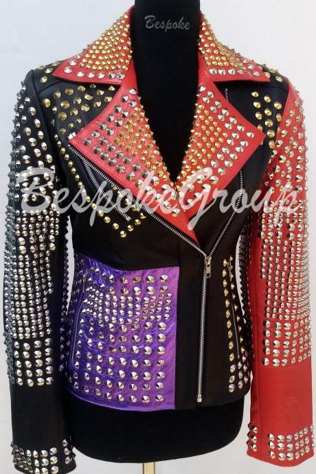 New Handmade Women Punk Multicolored Full Silver Studded Brando Fashion Style Biker Studded Cowhide Leather Jacket-32