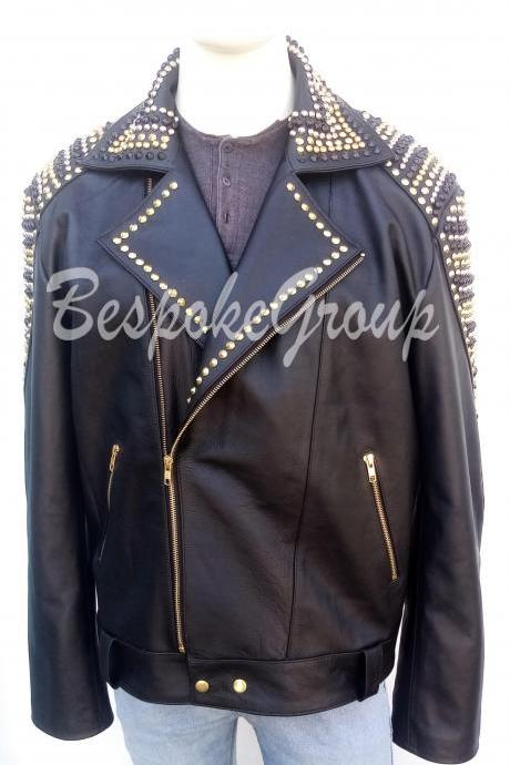 New Handmade Mens Punk Black Golden Multicolored Studded Biker Stylish Cowhide Leather Jacket-36
