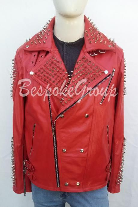 New Handmade Mens Red Silver Spiked Studded Fashion Cowhide Biker Leather Jacket Button Up-37