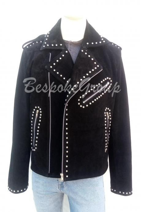 New Handmade Mens Black Silver Studded Zippered Brando Biker Style Suede Leather Jacket-38
