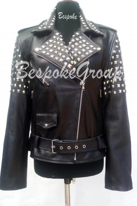 New Handmade Women Black Silver Studded Brando Style Cowhide Biker Leather Jacket Belted-42