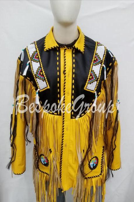 New Handmade Men Yellow Black Western Style Long Fringes Beads Leather Jacket-45