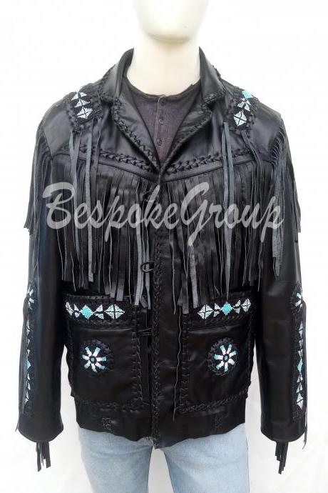 New Handmade Men Black Western Wear Fringes Beads Patches Cowhide Leather Jacket-46