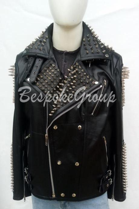 New Mens Punk Black Silver Long Spiked Studded Brando Zipper Cowhide Unique Style Button Up Leather Jacket-47
