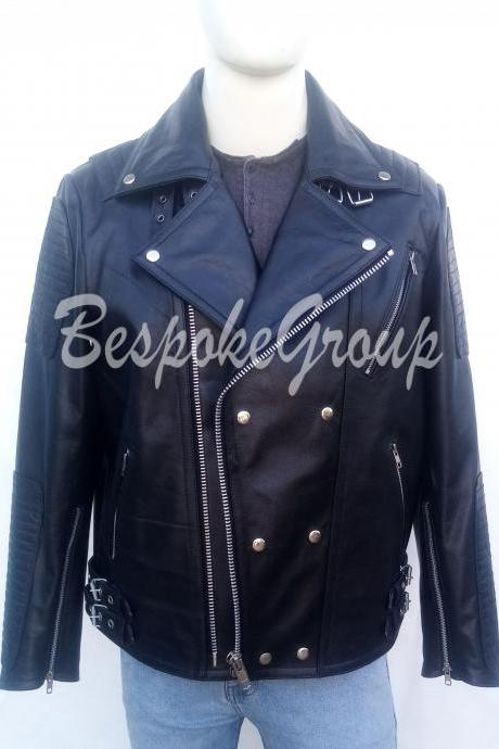 New Handmade Mens Black Fashion Leather Jacket Button up Cowhide Leather Jacket-53