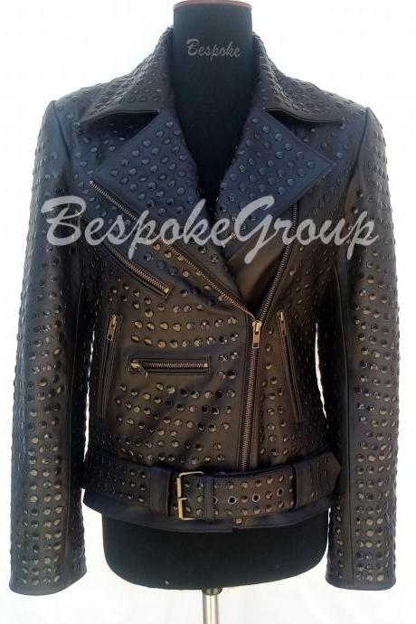 New Handmade Women Black Full Black Tonal Rivets Studded Brando New Fashion Style Biker Cowhide Leather Jacket-60