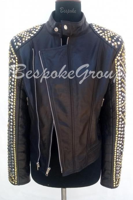 New Handmade Women Black Multicolored Golden Silver Studded Unique Style Biker On sleeves Tab Caller Cowhide Leather Jacket-61
