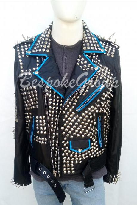 New Handmade Mens Rock Punk Black Silver Spiked Studded Brando Belted Style Unique Biker Cowhide Leather Jacket-62