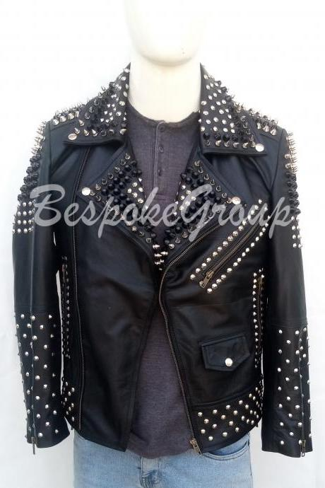 New Handmade Mens Black Punk Silver Spiked Stylish Biker Studded Brando Unique Cowhide Leather Biker Jacket-63