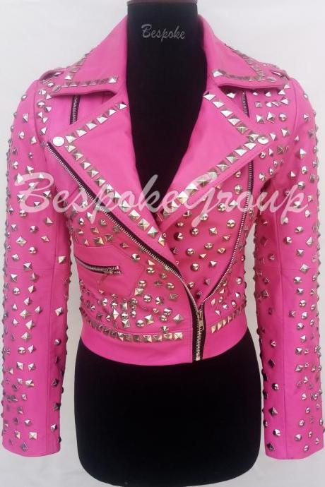 New Handmade Women Pink Colored Short Body full Silver studded Stylish Design Cowhide Biker Leather Jacket-70