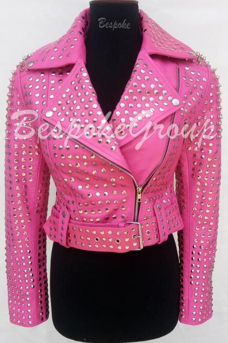 New Handmade Women Short Body Pink full Silver studded Spiked Brando Belted Style Cowhide Biker Leather Jacket-71