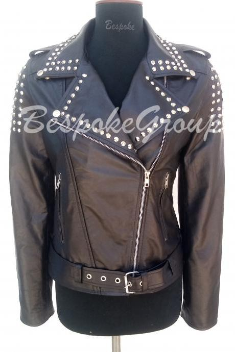 New Handmade Women Black Silver Studded Brando Style Belted Designer Biker Cowhide Leather Jacket-64