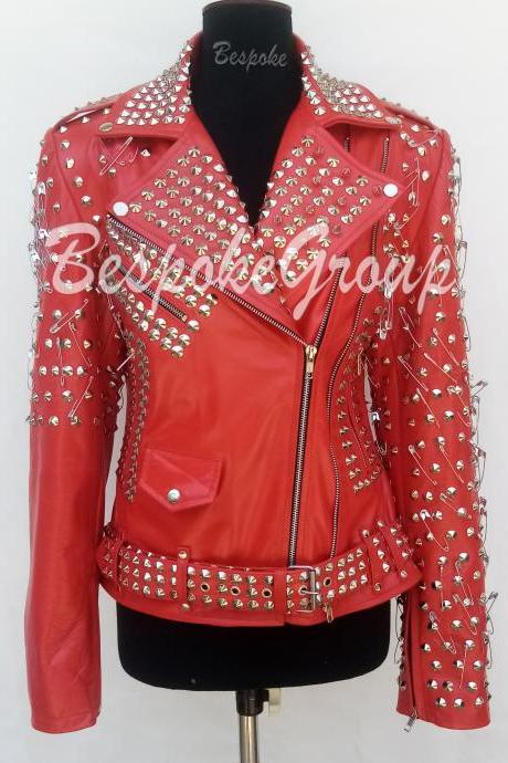 New Handmade Women Red Full Silver studded Unique Style Brando Belted Cowhide Leather Jacket-73