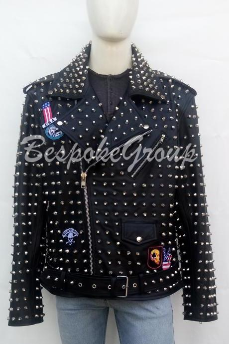 New Handmade Men Black Rock Punk Full Silver Studded Embroidery Dry Patches Brando Style Belted Cowhide Biker Leather Jacket-79