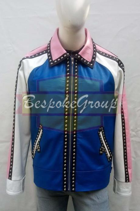 New Handmade Men Multicolored Stylish Rock Designer Brando Cowhide Leather Jacket-84