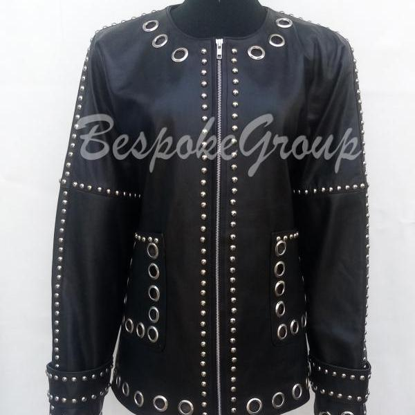 New Handmade Woman Black Silver Studded Unique Style Fashion Style Biker Designer Studded Leather Jacket-81